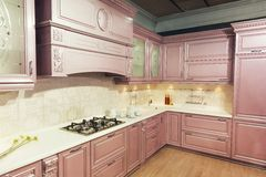 Wood beautiful custom kitchen interior design Royalty Free Stock Photography