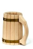Wood beer cup Stock Photo