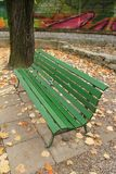 Wood bench in autumn Royalty Free Stock Photo