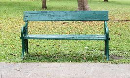 Wood bench. In the Gardens stock photos