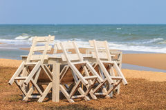 Wood bench with sea background Royalty Free Stock Image