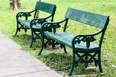 Wood bench. In the Gardens stock photo