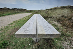 Wood bench worm's-eye view Stock Photos