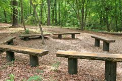 Wood Benches Royalty Free Stock Photo