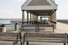 Wood Benches On An Old Pier Stock Photography