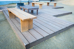 Wood benches in park Royalty Free Stock Image