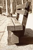 Wood benches in the recreation Park, skill, uniqueness, Germany, Harz, March 2018. Wood benches in the recreation Park, craftsmanship, uniqueness, texture close Stock Photos