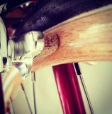 Wood bicycle wheel Royalty Free Stock Images