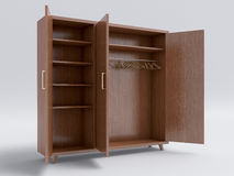 Wood big open cupboard; Royalty Free Stock Images