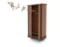 Wood big open cupboard with flying hangers; Stock Image