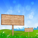 Wood Bigboard in the Nature Royalty Free Stock Photography