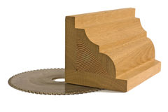 Wood billet for furniture with saw-blade Royalty Free Stock Photos