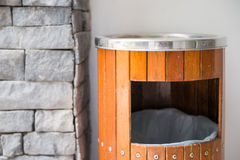Wood Bins And Ashtrays In Front Of Toilet Royalty Free Stock Photo