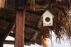 .Wood bird house outside ,front of house.Thailand. Wood bird house outside ,front of house.Thailand royalty free stock image