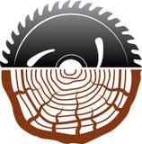 Wood bitande logodesign royaltyfri illustrationer