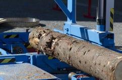 Wood bitande maskin Arkivfoto