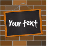 Wood blackboard on a brick wall illustration Stock Images