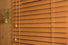 Wood Blinds. Home interior detail of wooden blinds stock images