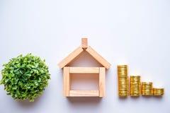 Wood block as house. Royalty Free Stock Photos
