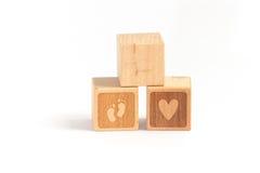 Wood block child Stock Photo
