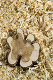 Wood block on chips Royalty Free Stock Photography
