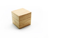 Wood block cube. Balsa wood block cube, on the white background Royalty Free Stock Photo