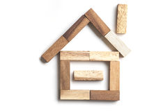 Wood block house Royalty Free Stock Photos