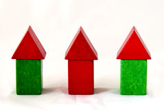 Wood block houses Stock Photo