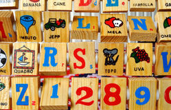 Wood block letters Stock Photos