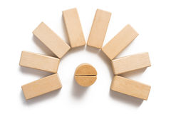 Wood block stacking as circular step . Royalty Free Stock Photos