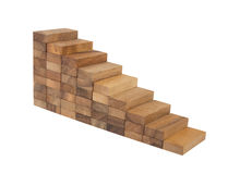 Wood block stacking as step stair, business concept for growth s Royalty Free Stock Photography
