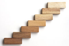 Wood block stacking as step stair. Royalty Free Stock Photos