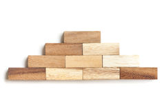 Wood block stacking as step stair. Royalty Free Stock Images