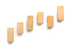 Wood block stacking as step stair. stock photos