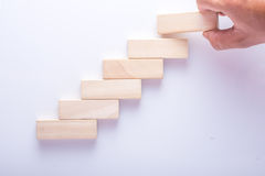 Wood block stacking as step stair, Business concept for growth success process.  Stock Photos