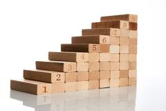 Wood block stacking as step stair. On white background with copy space for text, Business concept for growth success process, close-up Royalty Free Stock Photography