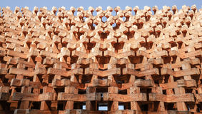 Wood block structure of wall facade Royalty Free Stock Photos