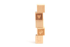 Wood block tower child Stock Images
