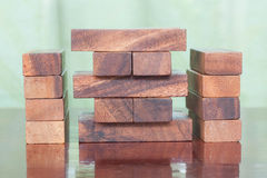 Wood block tower game for children. Royalty Free Stock Photo