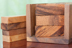 Wood block tower game for children. Royalty Free Stock Images