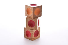 Wood Blocks. Wooden blocks puzzle with indents of different colors Royalty Free Stock Image