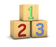 Wood blocks with 123 numbers. On a white background. Part of a series Royalty Free Stock Images