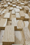 Wood blocks. Cuboid blocks of wood end stock photos