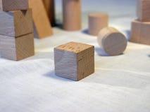 Wood blocks. Randomly spread on canvas Stock Image