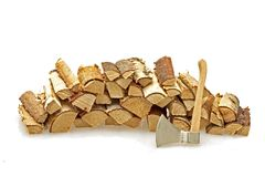 Wood blocks and an ax Royalty Free Stock Photo