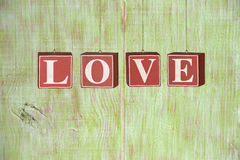 Wood Blocks Formimg Word LOVE Stock Images