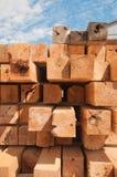 Wood blocks at lumbermill. Detail of wood blocks stacked at lumber mill in Ontario, Canada Royalty Free Stock Image