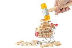 Wood blocks in shopping cart. Selective focus Stock Photography