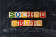 Wood Blocks Spelling Social Media Royalty Free Stock Photos