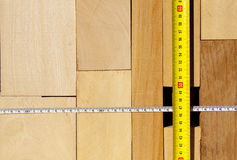 Wood Blocks And Tape Measure Royalty Free Stock Photos